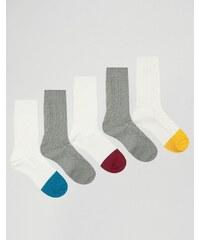 ASOS - Lot de 5 paires de chaussettes pour bottes avec empiècements color block - Multi
