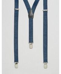 ASOS - Bretelles en jean avec fini vintage en cuir - Bleu marine