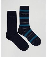 BOSS Hugo Boss - Lot de 2 paires de chaussettes à rayures - Bleu
