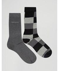 BOSS Hugo Boss - Lot de 2 paires de chaussettes à carreaux - Noir