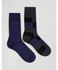 BOSS By Hugo Boss - Lot de 2 paires de chaussettes à carreaux - Gris
