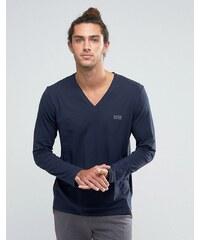 BOSS By Hugo Boss V-Neck Long Sleeve Top In Regular Fit - Bleu marine