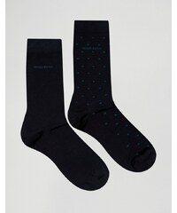 BOSS By Hugo Boss - Lot de 2 paires de chaussettes à pois en coton mercerisé - Bleu marine