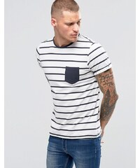 Blend - T-shirt rayé style marinère avec poche - Nuits bleues - Blanc