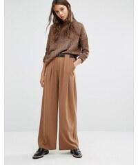 Paisie - Pantalon ample plissé avec ceinture en cuir - Fauve