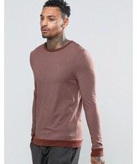 ASOS - T-shirt moulant à manches longues et bords-côtes contrastants sur l'ourlet et les poignets - Marron