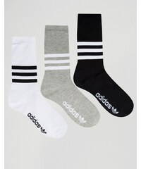 Adidas Originals - Lot de 3 chaussettes multicolores avec bordures à trois bandes - Multi