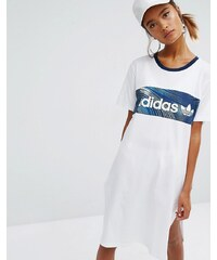 adidas Originals - T-Shirt-Kleid mit Blockstreifen und Geologie-Print - Weiß