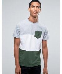 Hoxton Denim - T-shirt avec empiècements et poche à motif rose - Orange