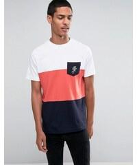Hoxton Denim - T-shirt avec empiècements et poche à motif rose - Bleu