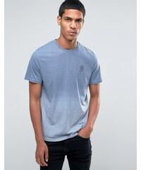 Hoxton Denim - T-shirt à effet dip-dye et motif rose - Bleu