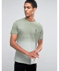 Hoxton Denim - T-shirt à effet dip-dye et motif rose - Marron