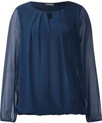 Street One Bluse mit Chiffon Heike - delta blue, Damen