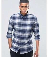 Selected Homme - Chemise à carreaux en flanelle - Bleu