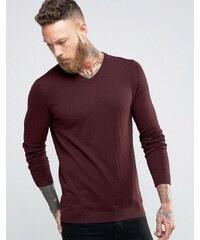 Jack & Jones - Hochwertiger Pullover mit V-Ausschnitt - Rot
