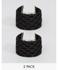 ASOS - Lot de 2 bracelets en filet - Noir