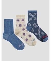 Ruby Rocks - Socken mit geometrischem Blumenmuster, 3er-Set - Mehrfarbig
