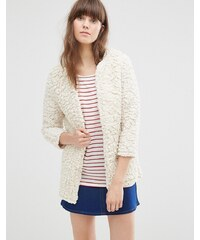 Vero Moda - Cardigan style manteau duveteux - Crème