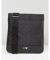 Armani Jeans - Pochette bandoulière avec logo sur l'ensemble - Noir
