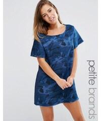 Liquor & Poker Petite - Robe en jean à imprimé camouflage - Bleu