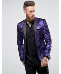ASOS - Blazer super skinny en velours - Violet - Violet