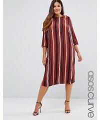 ASOS CURVE - Mittellanges, gestreiftes T-Shirt-Kleid - Mehrfarbig