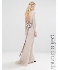 TFNC Petite Wedding - Robe longue à manches longues avec nœud dans le dos - Rose