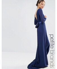 TFNC Petite Wedding - Robe longue à manches longues avec nœud dans le dos - Bleu marine