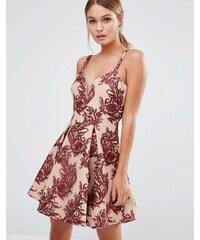 Stylestalker - Kleid mit ausgestelltem Rock, tiefem Ausschnitt und Stickerei - Mehrfarbig