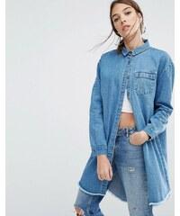 Daisy Street - Ungesäumte Denim-Hemdjacke in legerer Passform - Blau