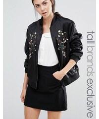 Fashion Union Tall - Bomber près du corps à fleurs brodées - Noir