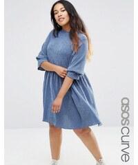 ASOS CURVE - Smock-Kleid aus strukturiertem Denim - Blau