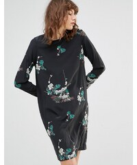 Samsøe & Samsøe Samsoe & Samsoe - Poland - Robe courte manches longue à imprimé floral - Noir