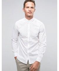 Selected Homme - Chemise élégante à imprimé, manches longues et col boutonné - Blanc