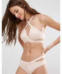 Noisy May - Tan Lines - Bikinioberteil in Nude mit Wickeldesign - Beige