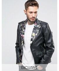 Reclaimed Vintage - Perfecto en cuir avec col à fleurs - Noir