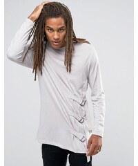 ASOS - T-shirt long à manches longues avec lanières fantaisie - Beige