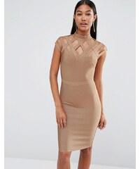 WOW Couture - Robe bandage à col montant - Fauve