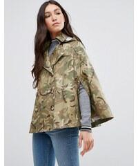 Cooper & Stollbrand - Cape courte imperméable avec capuche - Camouflage - Vert