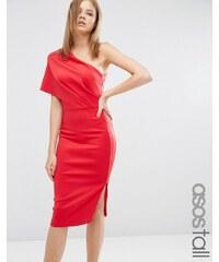 ASOS TALL - Robe mi-longue asymétrique en néoprène avec grand rabat et fermeture éclair apparente - Rouge