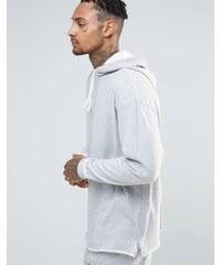 ASOS Loungewear - Sweat en long oversize en éponge à capuche, ourlet brut et fermeture éclair sur les côtés - Gris