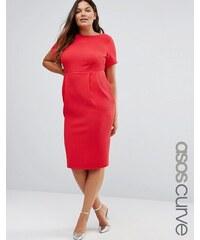 ASOS CURVE - Robe fourreau mi-longue texturée - Rouge