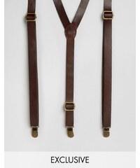 Reclaimed Vintage - Bretelles en cuir - Marron - Marron