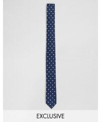 Reclaimed Vintage - Cravate fine à pois - Marine - Bleu marine