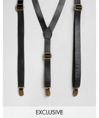Reclaimed Vintage - Bretelles en cuir - Noir - Noir
