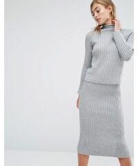 Parallel Lines - Hochgeschlossener, gerippter Pullover; Kombiteil - Grau
