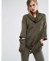 Parallel Lines - Hochgeschlossener Pullover mit Reißverschlussdetails an den Ellenbogen - Grün