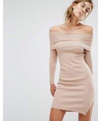 Parallel Lines - Schulterfreies Pulloverkleid - Beige