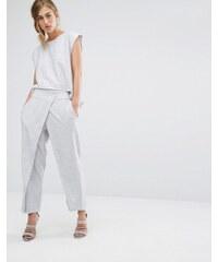 Parallel Lines - Elegant geschnittene Hose mit Wickedesign vorne - Grau