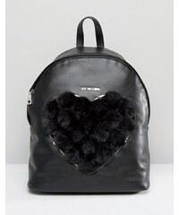 Love Moschino - Rucksack mit Herz aus Kunstpelz - Schwarz